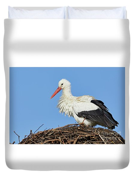 Duvet Cover featuring the photograph Stork On A Nest by Nick Biemans