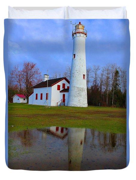 Sturgeon Point Lighthouse Duvet Cover by Michael Rucker