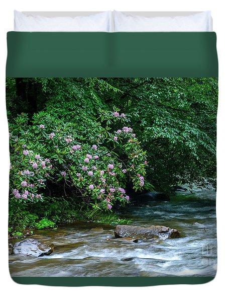 Summer Along Birch River Duvet Cover