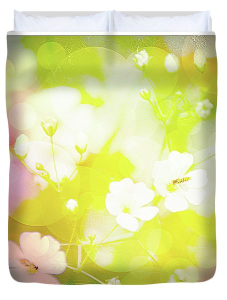 Summer Flowers, Baby's Breath, Digital Art Duvet Cover