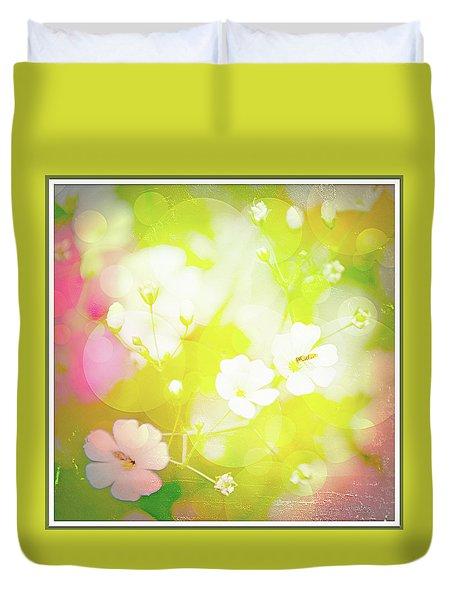 Summer Flowers, Baby's Breath, Digital Art Duvet Cover