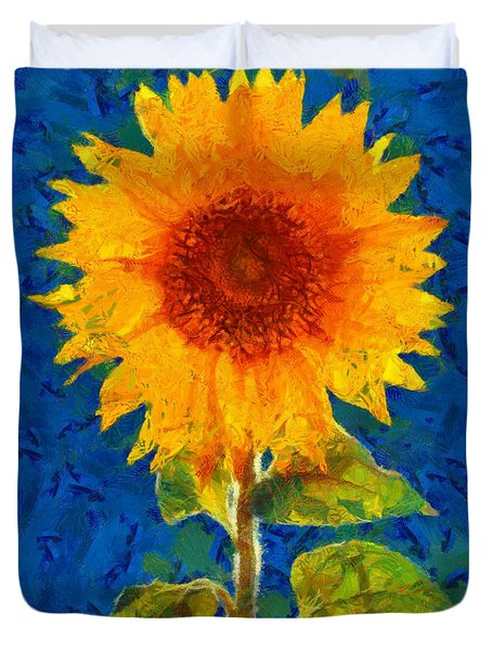 Duvet Cover featuring the painting Sunflower by Elizabeth Coats