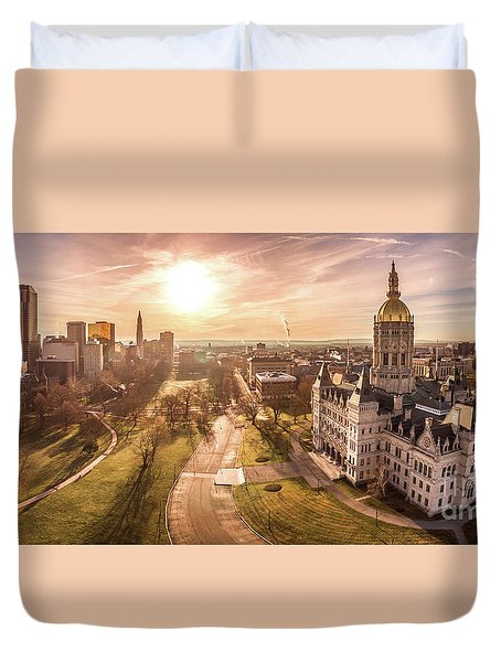 Duvet Cover featuring the photograph Sunrise In Hartford Connecticut by Petr Hejl