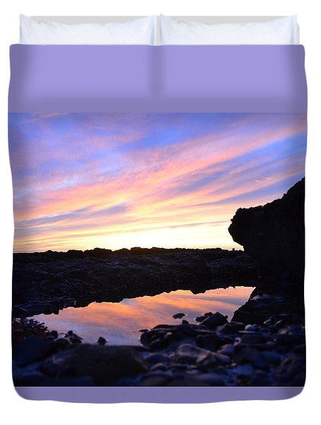 Duvet Cover featuring the photograph Sunset by Alex King