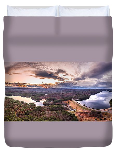 Duvet Cover featuring the photograph Sunset At Saville Dam - Barkhamsted Reservoir Connecticut by Petr Hejl