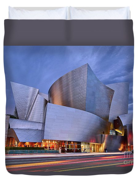 Sunset At The Walt Disney Concert Hall In Downtown Los Angeles. Duvet Cover