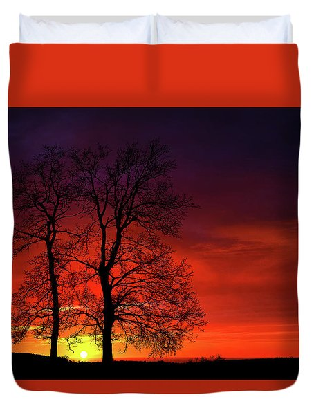Duvet Cover featuring the photograph Sunset by Bess Hamiti