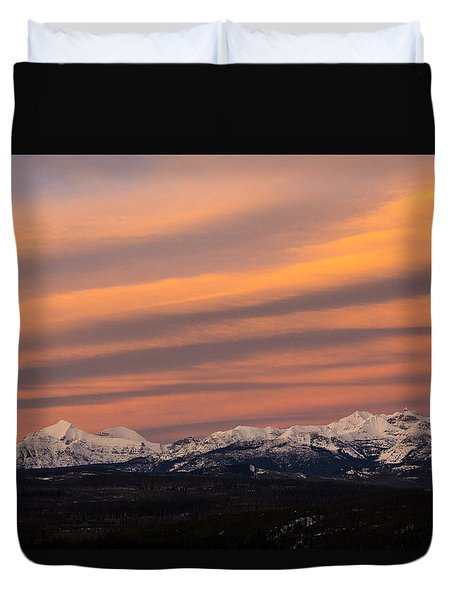 Sunset In Glacier National Park Duvet Cover