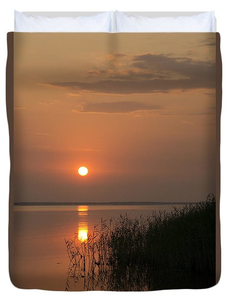 Duvet Cover featuring the photograph Sunset  by Inge Riis McDonald