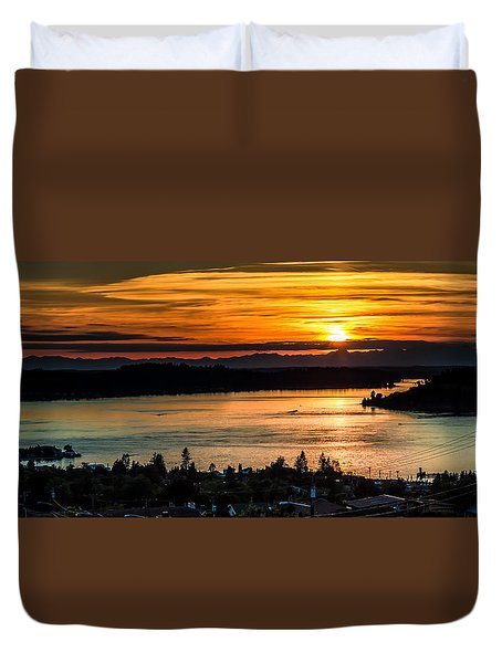 Duvet Cover featuring the photograph Sunset Over Hail Passage On The Puget Sound by Rob Green