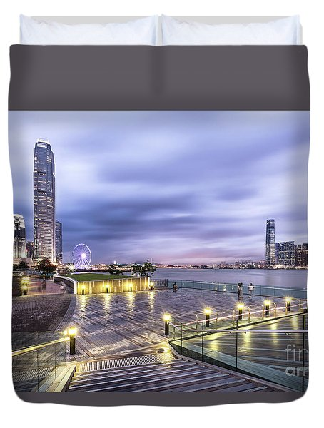 Sunset Over Hong Kong Duvet Cover