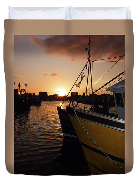 Sunset Over Sutton Harbour Plymouth Duvet Cover by Chris Day