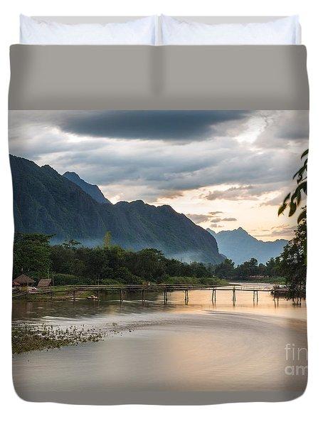 Sunset Over Vang Vieng River In Laos Duvet Cover