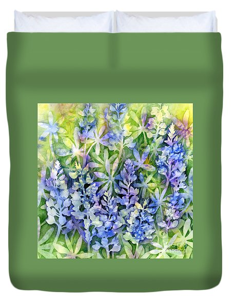 Duvet Cover featuring the painting Texas Blues  by Hailey E Herrera