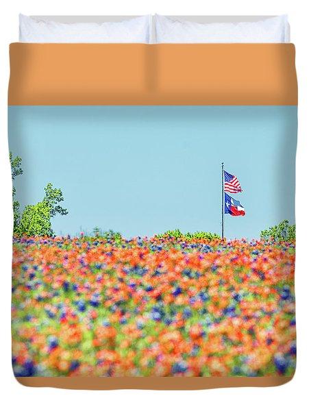 God Bless America And God Bless Texas Duvet Cover