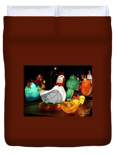 Duvet Cover featuring the photograph The 2017 Lantern Festival In Taiwan by Yali Shi