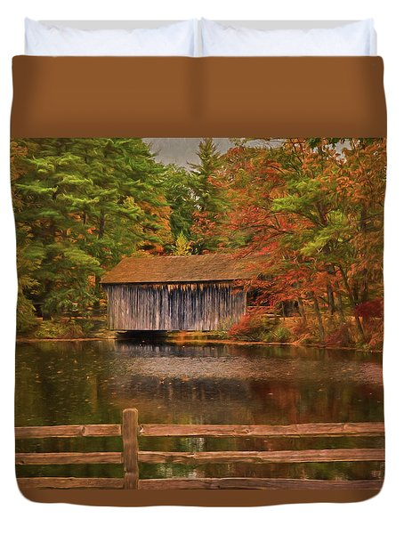 Duvet Cover featuring the photograph  The Dummerston Covered Bridge by Jeff Folger