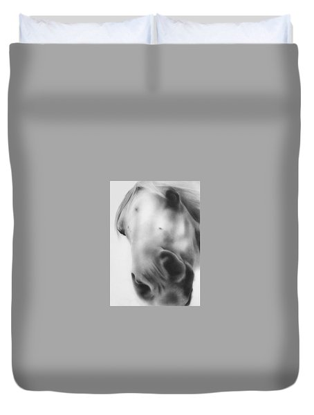 Duvet Cover featuring the drawing The Horse by Natasha Denger