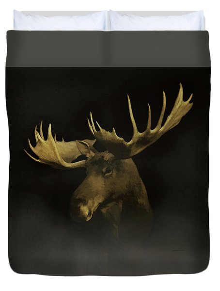 Duvet Cover featuring the digital art The Moose by Ernie Echols