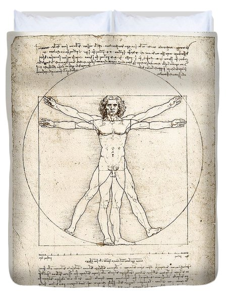 The Proportions Of The Human Figure Duvet Cover by Leonardo Da Vinci
