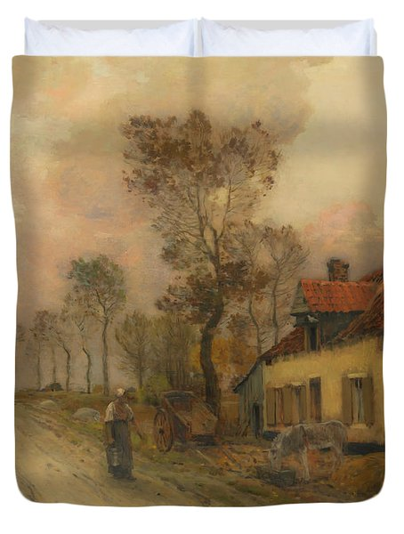 Duvet Cover featuring the painting The Route Nationale At Samer by Jean-Charles Cazin