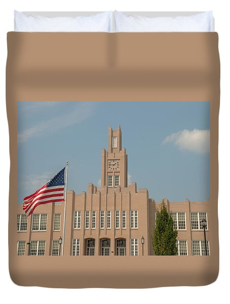 Duvet Cover featuring the photograph The School On The Hill by Mark Dodd
