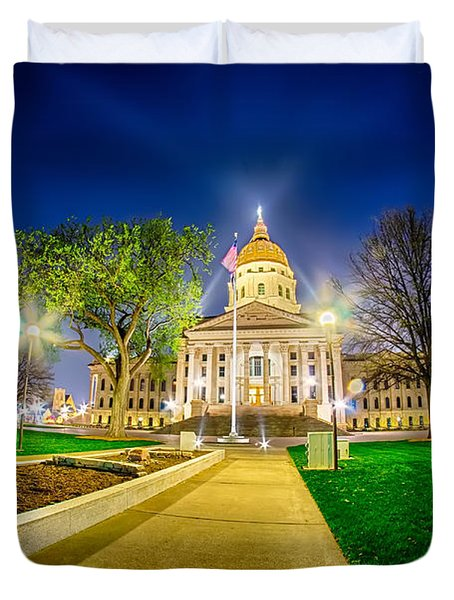 Topeka Kansas Downtown At Night Duvet Cover
