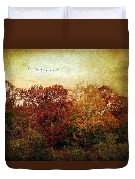 Treetops Duvet Cover by Jessica Jenney