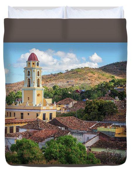 Duvet Cover featuring the photograph Trinidad Cuba Cityscape II by Joan Carroll