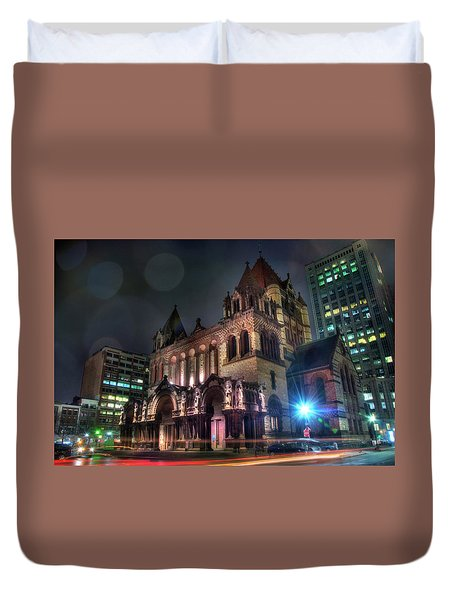 Duvet Cover featuring the photograph Trinity Church - Copley Square Boston by Joann Vitali