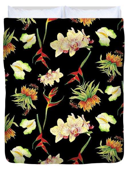 Tropical Island Floral Half Drop Pattern Duvet Cover