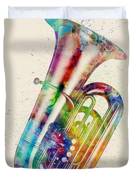 Tuba Abstract Watercolor Duvet Cover