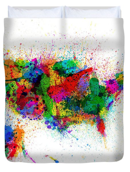 United States Paint Splashes Map Duvet Cover