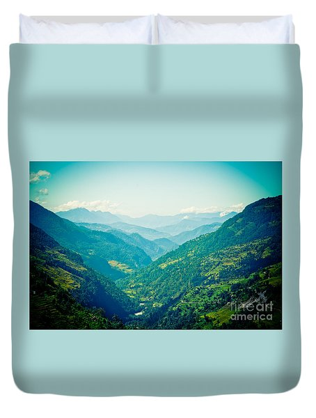 Valley Himalayas Mountain Nepal Duvet Cover