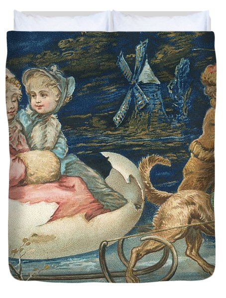 Victorian Christmas Card Duvet Cover