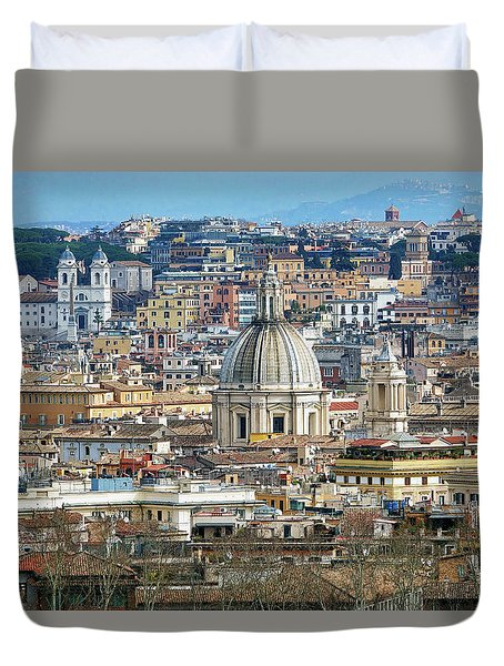 View Of Rome Italy From Atop Gianicolo Hill Duvet Cover