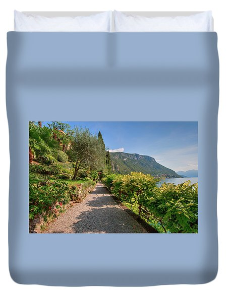 Duvet Cover featuring the photograph Villa Cipressi Gardens by Brenda Jacobs