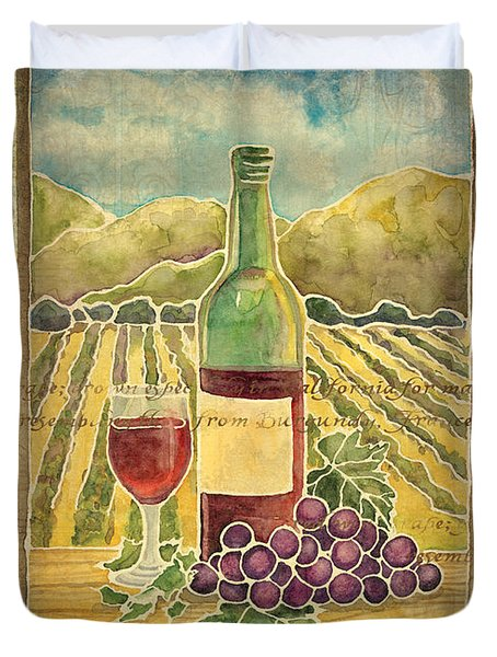 Vineyard Pinot Noir Grapes N Wine - Batik Style Duvet Cover by Audrey Jeanne Roberts