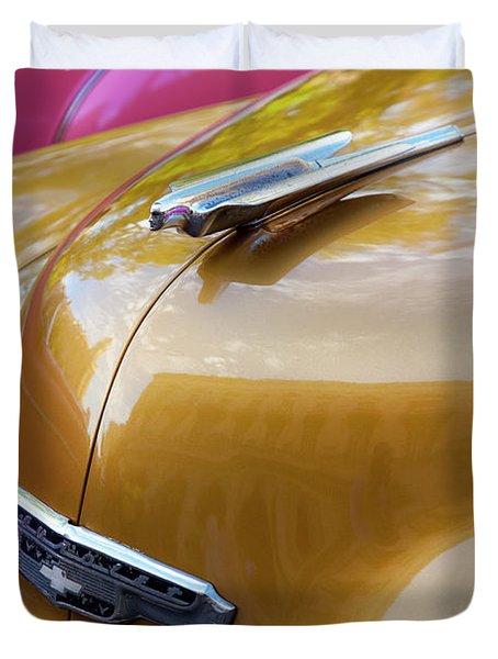 Duvet Cover featuring the photograph Vintage Chevy Hood Ornament Havana Cuba by Charles Harden