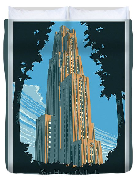 Vintage Style Pittsburgh Travel Poster Duvet Cover