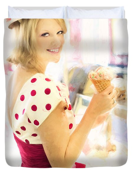 Vintage Val Ice Cream Parlor Duvet Cover