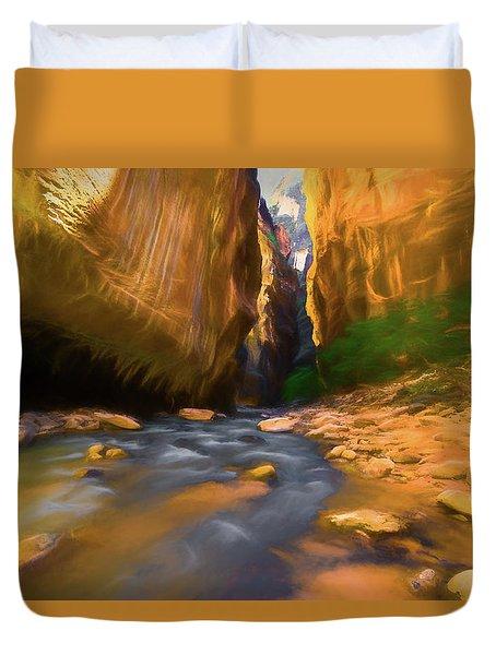 Virgin River - Zion National Park Watercolor Duvet Cover