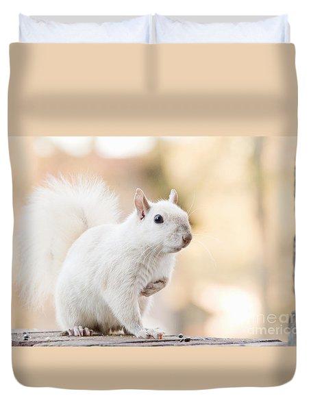 White Squirrel Duvet Cover by Vizual Studio
