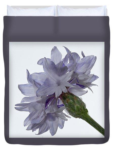 White With Blue Cornflower Duvet Cover