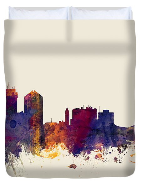 Wichita Kansas Skyline Duvet Cover