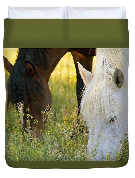 Wild Mustang Horses Duvet Cover