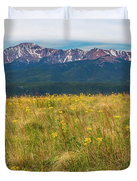 Wildflowers And Pikes Peak Duvet Cover