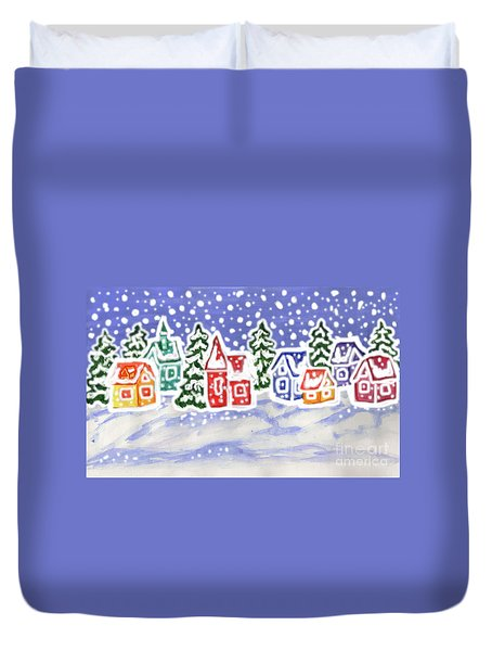 Winter Landscape With Multicolor Houses, Painting Duvet Cover