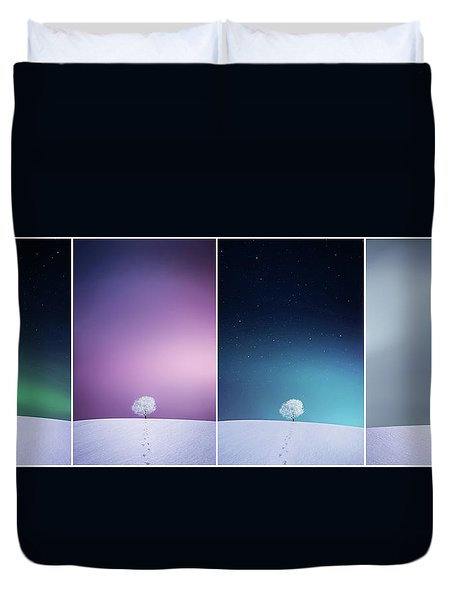 Duvet Cover featuring the photograph Winter Tree by Bess Hamiti