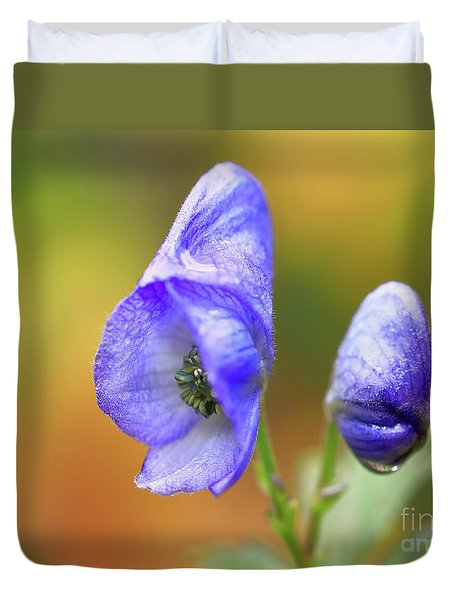 Duvet Cover featuring the photograph Wolf's Bane Flower by Nick Biemans